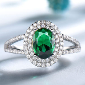 Green Oval Cut Emerald Engagement Silver Ring